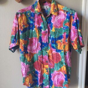 Vintage Bright Floral Button Up Sz M